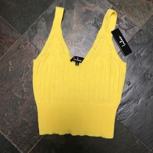Lulus Yellow Crop Top. NWT size Medium